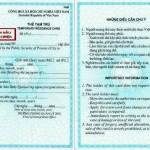 Temporary residence card (TRC) for foreigners living in Vietnam